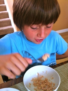 Here Joe eats wild caught tuna from a can to get me off his back about protein.