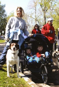 Two boys in a jogger stroller and a 75 pound dog on a leash? Yep. I got this.