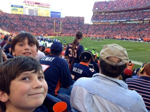 The boys' first Broncos game back in November.