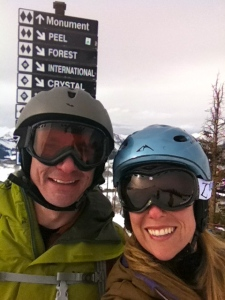 Rotten parents skiing Crested Butte sans children and looking happy about it