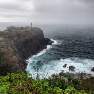 Kilauea Lighthouse in the rain