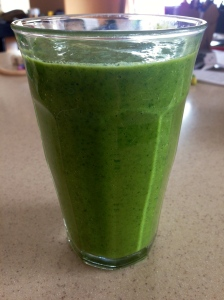 My lunch today...tropical smoothie with kale.