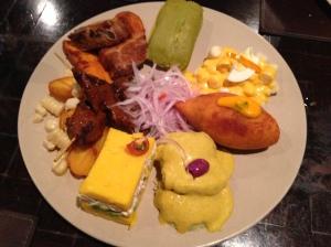 Peruvian sampler platter at Panchita