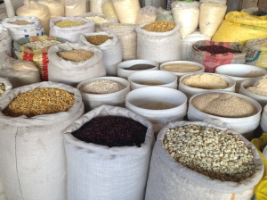 Grains available for purchase from local farmers in the San Pedro Market
