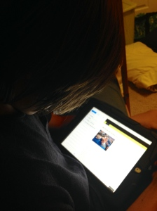 My thirteen year old reading my blog on his iPad.