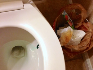 Who puts frosting in the toilet? Satan!