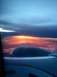 Sunset on the flight home…all is right with the world.