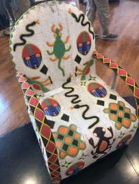 Intricately beaded chair